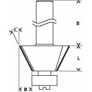 Фреза кромочная конусная 237х12 мм, 25 градусов, хвостовик 8 мм, по дереву, BOSCH, 2608628351