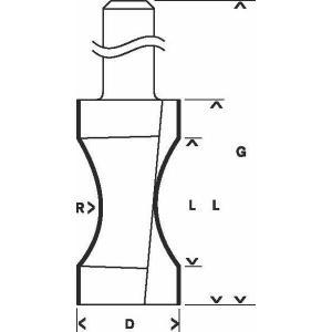 Фреза кромочная полустержневая 206х635 мм, R183 мм, хвостовик 8 мм, по дереву, BOSCH, 2608628354