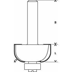 Фреза кромочная калевочная 367х58 мм, R12 мм, хвостовик 8 мм, по дереву, BOSCH, 2608628365