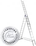 Лестница трехсекционная универсальная алюминиевая 3х9, АЛЮМЕТ, 5309